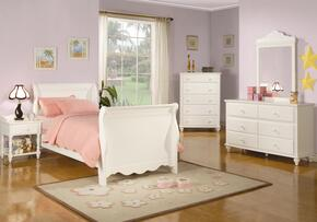 400360FSET5 Pepper 5 Pc Full Size Bedroom Set in Crisp White Finish (Bed, Nightstand, Dresser, Mirror, and Chest)