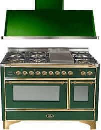 "2-Piece Emerald Green Kitchen Package with UM120FDMPVS 48"" Freestanding Dual Fuel Range (Brass Trim, 6 Burners, Griddle) and UAM120VS 48"" Wall Mount Range Hood"