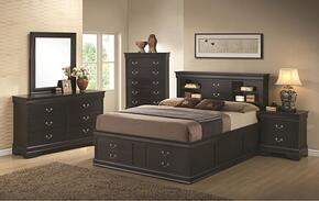 201079Q5P Louis Philippe 5 Piece Bedroom Set in Black with Queen Storage Bed, Chest, Dresser, Mirror and Single Nightstand