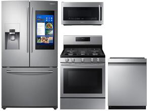 "4-Piece Stainless Steel Kitchen Package with RF265BEAESR 36"" French Door Refrigerator, NX58J7750SS 30"" Freestanding Gas Range, DW80M9550US 24"" Fully Integrated Dishwasher and ME21K7010DS 30"" Over-the-Range Microwave"