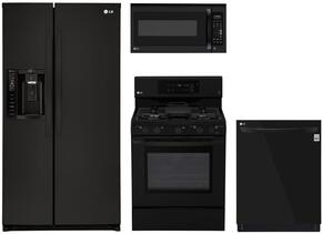 """4-Piece Kitchen Package with LSXS26326B 33"""" Side by Side Refrigerator, LRG3193SB 30"""" Freestanding Gas Range, LMV2031SB 30"""" Over the Range Microwave, and LDP6797BB 24"""" Built In Fully Integrated Dishwasher in Black"""