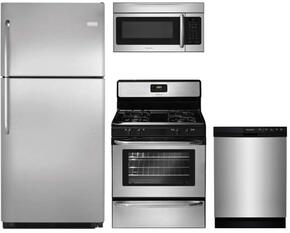 "4-Piece Kitchen with FFTR2021QS 30"" Freestanding Top Freezer Refrigerator, FFGF3047LS 30"" Gas Freestanding Range, FFBD2412SS 24"" Built In Dishwasher and FFMV164LS 30"" Over The Range Microwave Oven in Stainless Steel"