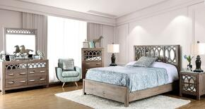 Zaragoza Collection CM7585EKBEDSET 6 PC Bedroom set with Eastern King Size Panel Bed + Dresser + Mirror + Chest + 2 Nightstands in Rustic Natural Tone Finish