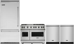 "4-Piece Stainless Steel Kitchen Package with VBI7360WRSS 36"" Bottom Freezer Refrigerator, VGR5486GSSLP 48"" Gas Range, VDW302SS 24"" Fully Integrated Dishwasher, and FDW302WS 24"" Fully Integrated Dishwasher"