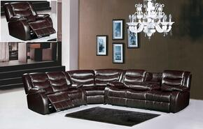 Gramercy Collection 644-BR-S-L-C-W 4 Piece Living Room Set with Sectional Sofa + Reclining Loveseat, Reclining Chair and Wedge in Brown