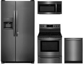 "4-Piece Kitchen Package with FFSS2615TD 36"" Side by Side Refrigerator, FFEF3054TD 30"" Freestanding Electric Range, FFMV1645TD 30"" Microwave Oven, and FFID2426TD 24"" Built In Fully Integrated Dishwasher in Black Stainless Steel"