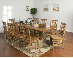 Sedona Collection 1356RODT10C 11-Piece Dining Room Set with Dining Table and 10 Chairs in Rustic Oak Finish