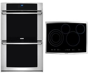 "2-Piece Stainless Steel Kitchen Package with EW30EW65PS 30"" Double Wall Oven and EI30EC45KS 30"" Electric Cooktop"