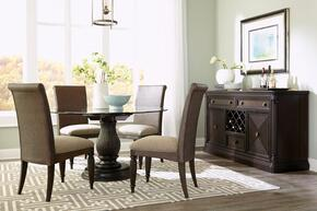Jessa 4980RDTS4WSC 6-Piece Dining Room Set with Round Dining Table, Server and 4 Woven Side Chairs in Dark Brown Finish