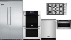 "5-Piece Stainless Steel Kitchen Package with VCSB5483SS 48"" Side by Side Refrigerator, MVDOE630SS 30"" Double Wall Oven, VGSU5366BSS 36"" Gas Cooktop, VMOD5240SS 24"" DrawerMicro, and FDW302 24"" Dishwasher"