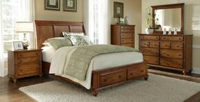 Hayden Place Collection 4 Piece Bedroom Set With Queen Size Storage Sleigh Bed + 1 Nightstands + Dresser + Mirror: Oak