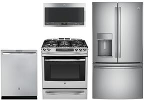 "4 Piece Kitchen Package With PGS920SEFSS 30"" Slide-In Gas range, PVM9005SJSS Over the Range Microwave Oven, PYE22KSKSS 36"" French Door Refrigerator and DT845SSJSS 24"" Fully Integrated Dishwasher In Stainless Steel"