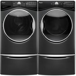 "Black Diamond WFW9290FBD 27"" Front Load Washer with WED92HEFBD 27"" Electric Dryer and 2 XHPC155YBD Laundry Pedestals"