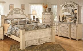 Saveaha 4-Piece Bedroom Set with Queen Size Poster Bed, Dresser, Mirror and Chest in Light Opulent