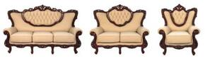 2118IVORYS3SET Traditional 3 Piece Livingroom Set, Sofa + Loveseat + Chair in Ivory with Mahogany Wood Finish
