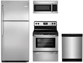 "4 Piece Kitchen Package With FFEF3048LS 30"" Electric Freestanding Range, FFMV164LS Over The Range Microwave Oven, FFTR2021QS 30"" Freestanding Top Freezer Refrigerator and  FFBD2412SS 24"" Built In Dishwasher In Stainless steel"