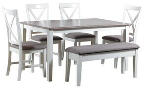 """Jane Collection 15D8153PC6 40"""" 6pc Dining Set with One Rectangular Table, Four Side Chairs and One Storage Bench in White Finish"""