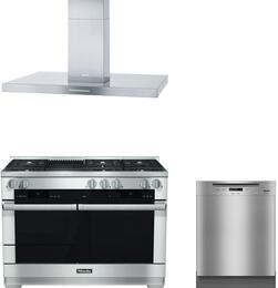 "3-Piece Stainless Steel Kitchen Package with HR1955DFGR 48"" Freestanding Dual Fuel Range, DA424V 48"" Mount Ducted Hood, and G6105SCUCLST 24"" Full Console Dishwasher"