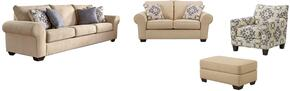 Denitasse Collection 84904SLACO 4-Piece Living Room Set with Sofa, Loveseat, Accent Chair and Ottoman in Parchment