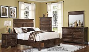 00186WBDMNC Grandview 5 Piece Bedroom Set with Storage California King Bed, Mirror, Nightstand and Media Chest, in Brown