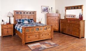 Sedona Collection 2322ROKBDM2NC 6-Piece Bedroom Set with King Bed, Dresser, Mirror,  2 Nightstands and Chest in Rustic Oak Finish