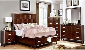 Safire Collection CM7616KSBDMCN 5-Piece Bedroom Set with King Storage Bed, Dresser, Mirror, Chest and Nightstand in Cherry Finish