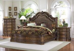 66218012BC2N San Mateo 4 PC Bedroom Set with Eastern King Size Sleigh Bed + Chest + 2 Nightstands in Pecan Veneer Medium Brown Finish
