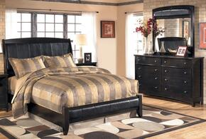 Flowers Collection Bedroom Set with Queen Size Sleigh Bed, Dresser and Mirror in Dark Brown