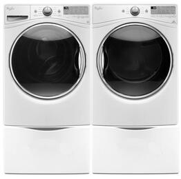 """White Front Load Laundry Pair with WFW92HEFW 27"""" Front Load Washer, WED92HEFW 27"""" Electric Dryer and 2 XHPW155DW pedestals"""