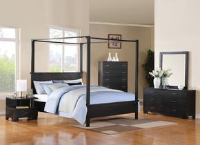 London 20050Q5PC Bedroom Set with Queen Size Bed + Dresser + Mirror + Chest + Nightstand in Black Color
