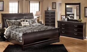 Esmarelda King Bedroom Set with Sleigh Bed, Dresser, Mirror and Chest in Dark Merlot