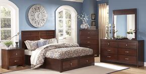 00060ESBDMNC Kensington 5 Piece Bedroom Set with King Storage Bed, Dresser, Mirror, Nightstand and Chest, in Burnished Cherry