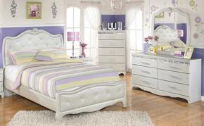 Zarollina Twin Bedroom Set with Upholstered Bed, Dresser and Mirror in Silver