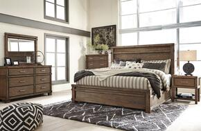 Leystone King Bedroom Set with Panel Bed, Dresser, Mirror, 2x Nightstands and Chest in Dark Brown
