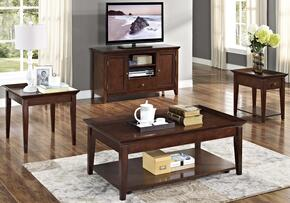 30709CEEC Terrace 4 Piece Occasional and Entertainment Table Set with Cocktail Table, End Table, Chairside End Table and Entertainment Console, in Chestnut