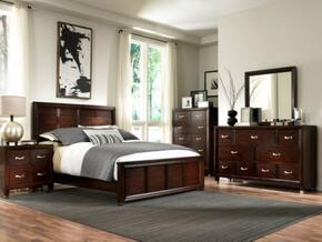 Eastlake 2 Collection 4 Piece Bedroom Set With King Size Panel Bed + 1 Nightstands + Dresser + Mirror: Brown Cherry