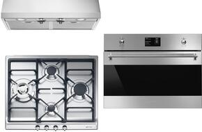 """3-Piece Kitchen Package with SR60GHU3 24"""" Gas Cooktop, SU45MCX1 24"""" Single Wall Oven, and KUC36X 24"""" Under Cabinet Hood"""