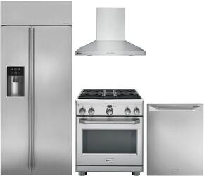 "4-Piece Stainless Steel Kitchen Package with ZISS360DKSS 36"" Side by Side Refrigerator, ZGP304LRSS 30"" Freestanding Liquid Propane Range, ZV830SMSS 30"" Wall Mount Hood, and ZDT915SPJSS 24"" Fully Integrated Dishwasher"