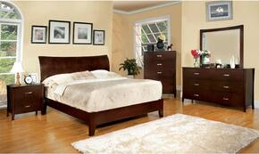 Midland Collection CM7600FBDMCN 5-Piece Bedroom Set with Full Bed, Dresser, Mirror, Chest, and Nightstand in Brown Cherry Finish