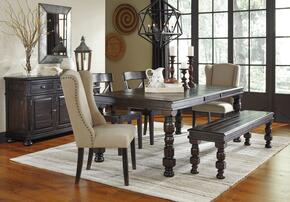 Gerlane Collection 7-Piece Dining Room Set with Dining Table, 2 Side Chairs, 2 Upholstered Chairs, Bench and Server in Dark Brown