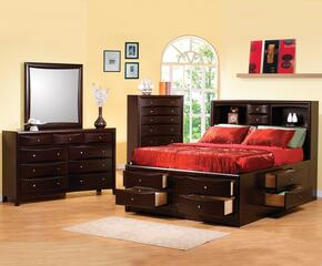 Phoenix Collection 200409QSET 4 PC Bedroom Set with Queen Size Bed + Dresser + Mirror + Chest in Deep Cappuccino Finish