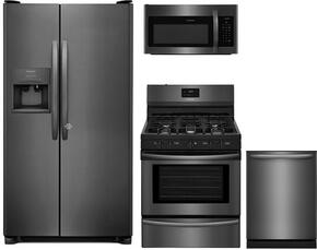 "4-Piece Kitchen Package with FFSS2615TD 36"" Side by Side Refrigerator, FFGF3054TD 30"" Gas Range, FFMV1645TD 30"" Over the Range Microwave Oven and FFID2426TD 24"" Built In Fully Integrated Dishwasher in Black Stainless Steel"