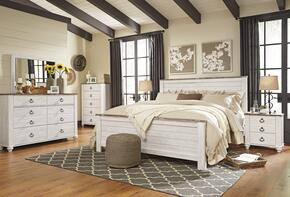 Willowton King Bedroom Set with Panel Bed, Dresser, Mirror, 2 Nightstands and Chest in Whitewashed Color