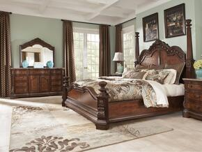Ledelle Collection Queen Bedroom Set with Poster Bed, Dresser and Mirror in Dark Cherry