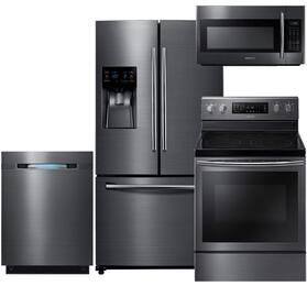 "4-Piece Black Stainless Steel Kitchen Package with RF263BEAESG 36"" French Door Refrigerator, NE59J7630SG 30"" Freestanding Electric Range, DW80J7550UG 24"" Fully Integrated Dishwasher and ME18H704SFG 30"" Over The Range Microwave"
