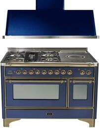 "2-Piece Midnight Blue Kitchen Package with UM120SDMPBLY 48"" Freestanding Dual Fuel Range (Oiled Bronze Trim, 5 Burners, French Cooktop) and UAM120BL 48"" Wall Mount Range Hood"