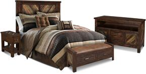 Riviera Collection HH-4280-4PC 4 PC Bedroom Set with Bed + Bench + Console + End Table in Walnut Finish