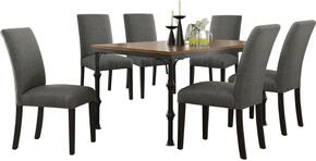 Vriel Collection 71580CSET 7 PC Dining Room Set with Dining Table + 6 Charcoal Side Chairs in Dark Oak and Black Finish