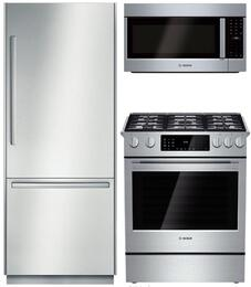 """3-Piece Stainless Steel Outdoor Kitchen Package with B30BB830SS 30"""" Bottom Freezer Refrigerator, HGIP054UC 30"""" Slide-In Gas Range, and HMVP053U 30"""" Over the Range Microwave"""