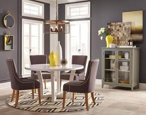 Caprice Collection 180231SET6 6 PC Dining Room Set with Dining Table + 4 Side Chairs + Accent Cabinet in White and Grey Finish